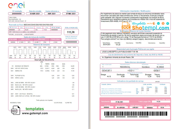 Brazil ENEL electricity utility bill template in Word and PDF format (2 pages)