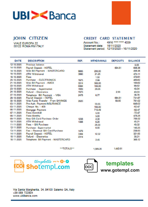 Italy UBI BANCA bank statement template in Word and PDF format, fully editable