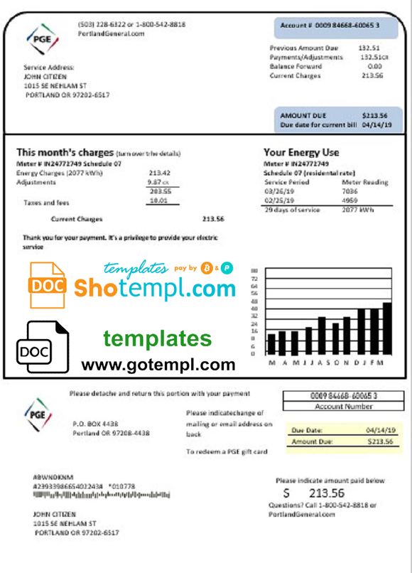 USA Oregon PGE electricity utility bill template in Word and PDF format