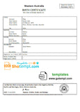 Australia Western Australia birth certificate template in Word format, version 2