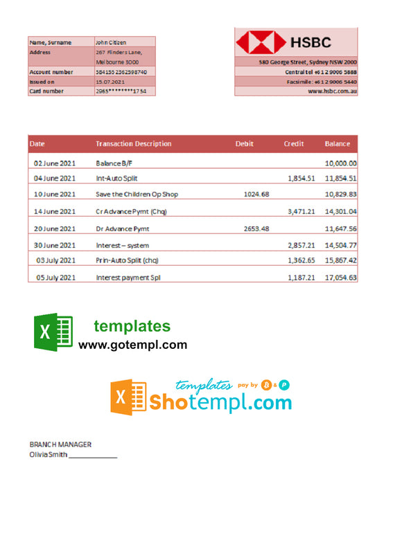 Australia HSBC Bank statement template in Excel and PDF format, fully editable