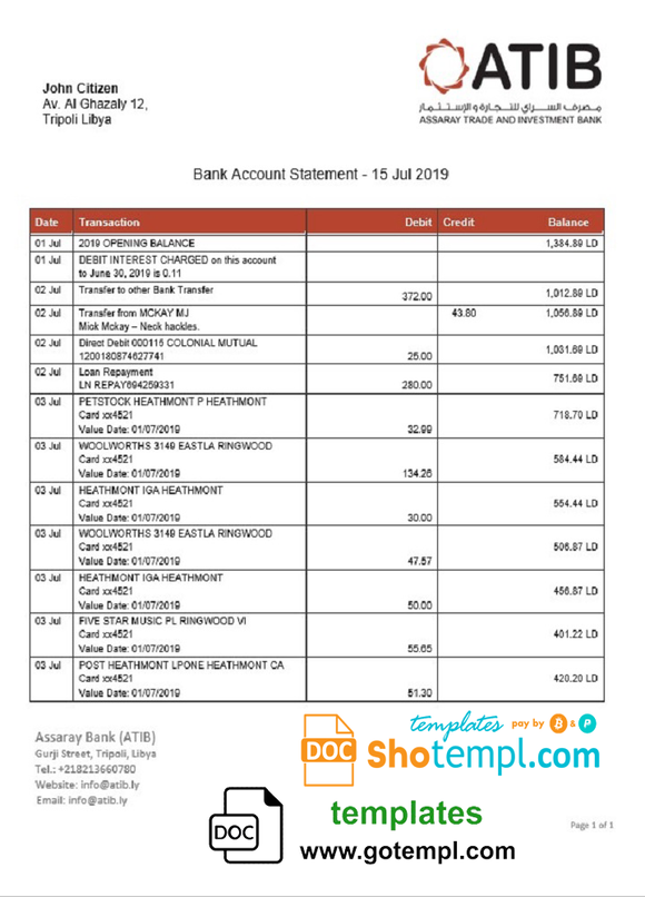 Libya Assaray (ATIB) bank statement easy to fill template in Word and PDF format