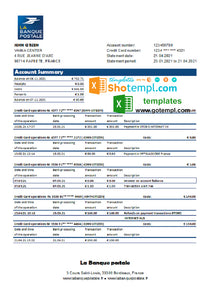 France La Banque Postale bank statement easy to fill template in .xls and .pdf file format