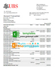 Switzerland UBS Bank statement easy to fill template in Excel and PDF format