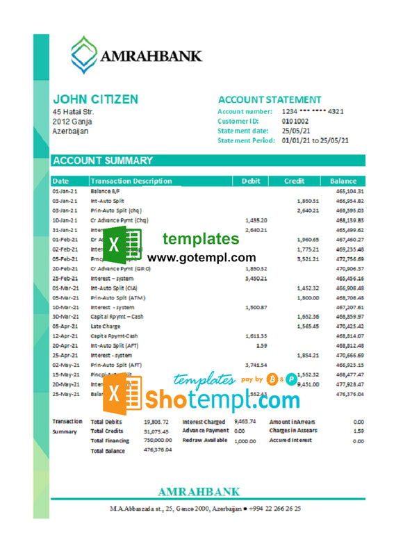 Azerbaijan Amrahbank bank statement easy to fill template in Excel and PDF format