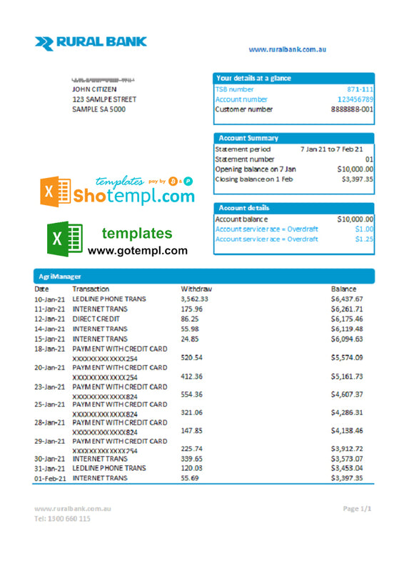 Australia Rural Bank statement easy to fill template in Excel and PDF format