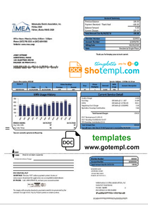 USA MEA Alaska electricity utility bill template in Word and PDF format