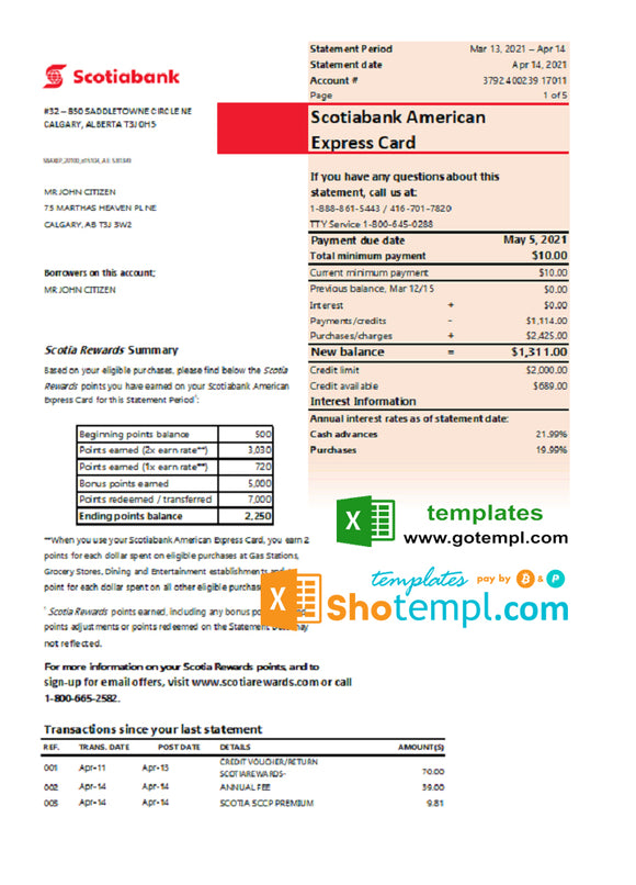 Canada Scotiabank bank statement easy to fill template in Excel and PDF format (AutoSum)