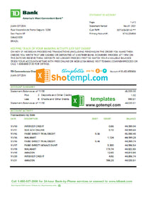 Brazil TD bank statement easy to fill template in Excel and PDF format
