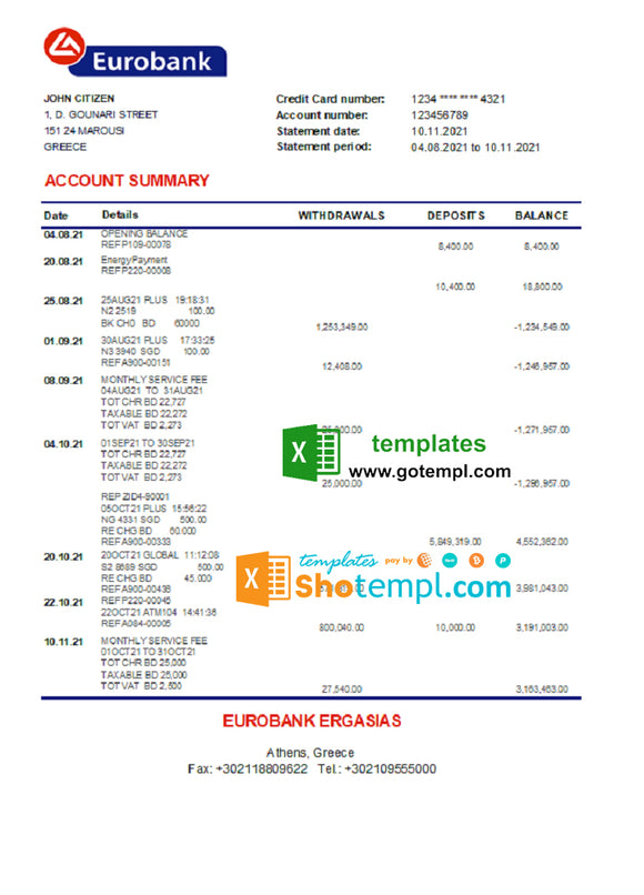 Greece Eurobank Ergasias bank statement easy to fill template in Excel and PDF format