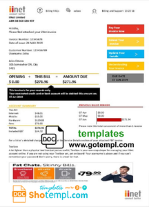 Australia iiNet utility bill template in Word and PDF format (.doc and .pdf)