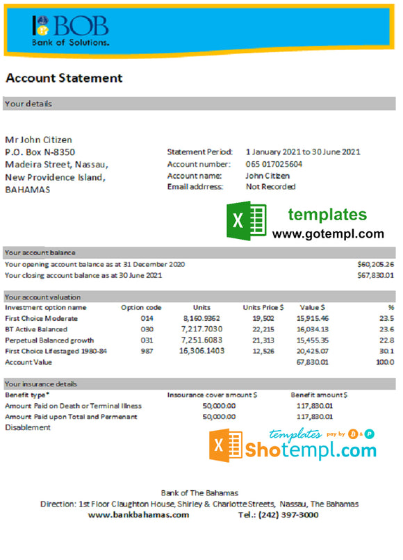 Bahamas Bank of the Bahamas bank statement easy to fill template in .xls and .pdf file format
