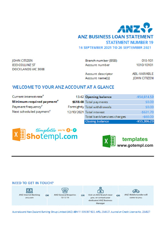 Australia ANZ bank statement template in Excel and PDF format