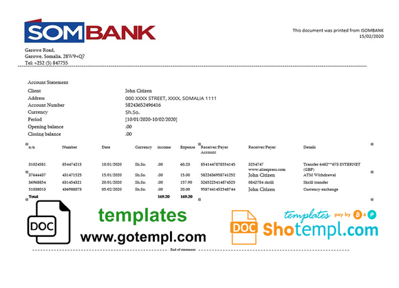 Somalia Sombank bank statement template in Word and PDF format