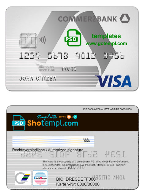 Germany Commerzbank VISA Card template in PSD format, fully editable