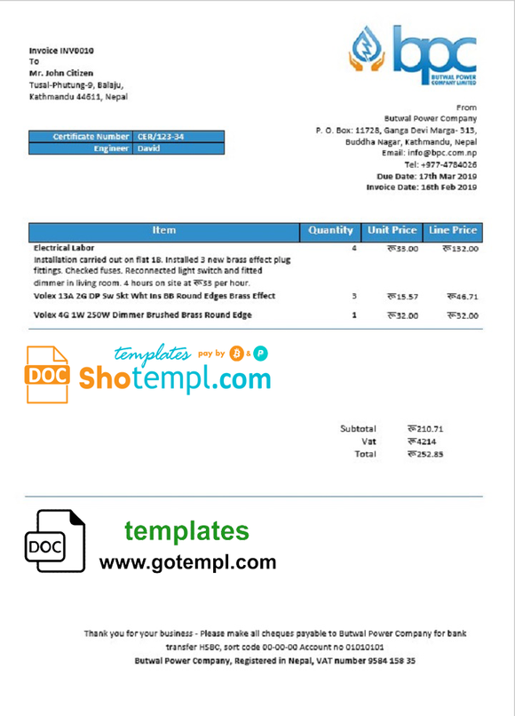 Nepal Butwal Power Company Limited electricity utility bill template in Word and PDF format