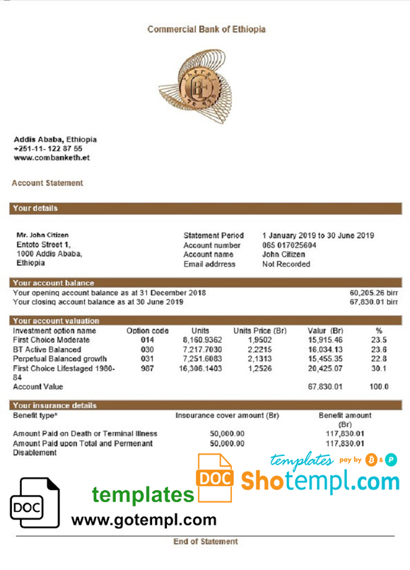 Ethiopia Commercial Bank of Ethiopia bank statement template in Word and PDF format, good for address prove