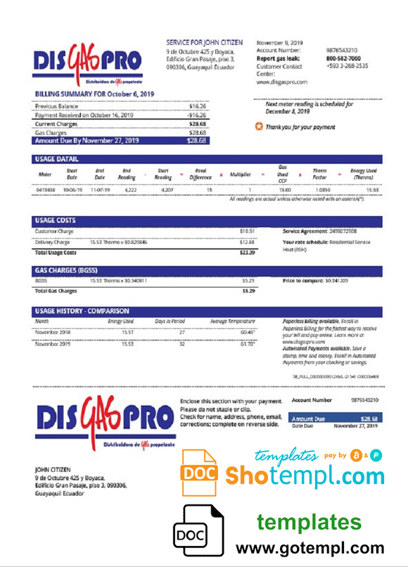 Ecuador Disgaspro gas utility bill template in Word and PDF format