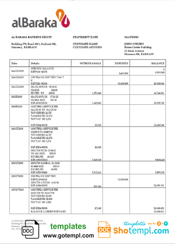 Bahrain Al Baraka bank statement template in Word and PDF format
