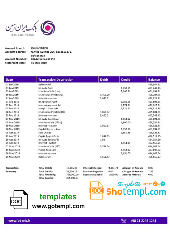 Iran Zamin Bank statement template in Word and PDF format
