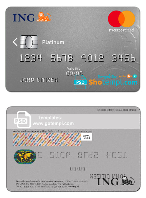 Netherlands ING Bank MasterCard template in PSD format, fully editable