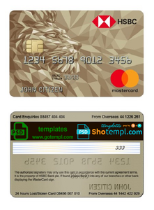United Kingdom HSBC Gold MasterCard Credit Card template in PSD format, fully editable