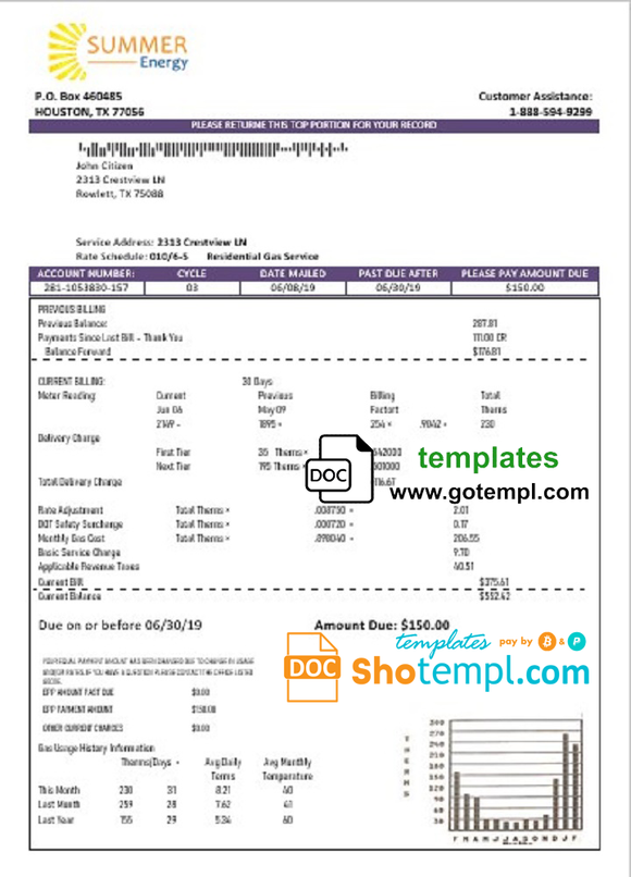 USA Texas Summer Energy easy fillable utility bill template in Word and PDF format