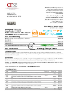 USA New York CFSB bank statement easy to fill templates in Word and PDF format