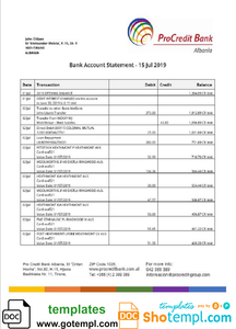 Albania ProCreditBank proof of address bank statement Word and PDF template, .doc and .pdf format