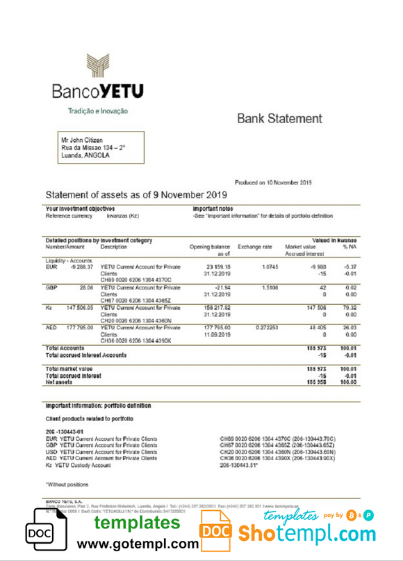 Angola Banco Yetu bank statement easy to fill template in Word and PDF format