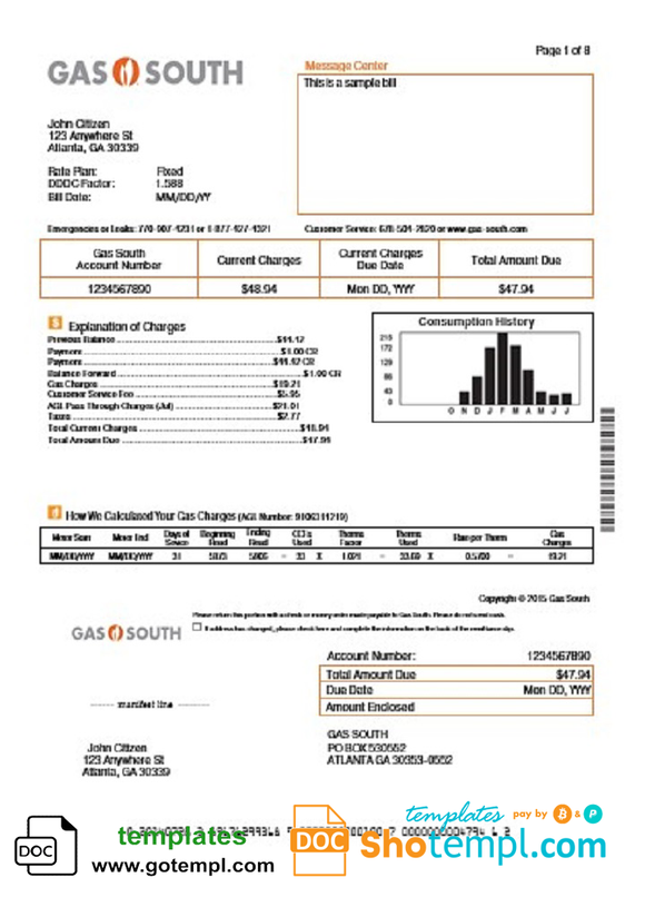 USA New York Gas South utility bill template in Word and PDF format