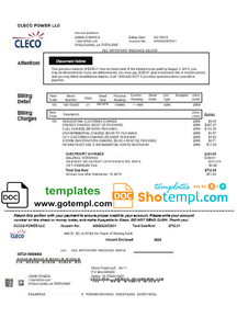 USA Louisiana Cleco Power electricity utility bill template in Word and PDF format