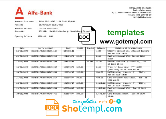 Russia Alfa bank proof of address statement template in Word and PDF format
