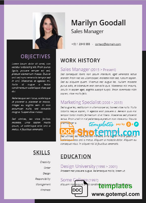 Modern and Professional CV template in WORD format