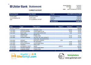 Republic of Ireland Ulster Bank statement template in Word and PDF format, good for address prove