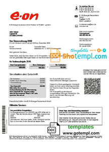 Germany E.ON Energie electricity utility bill template in Word and PDF format