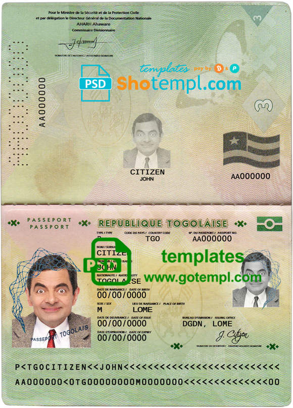 Togo passport template in PSD format