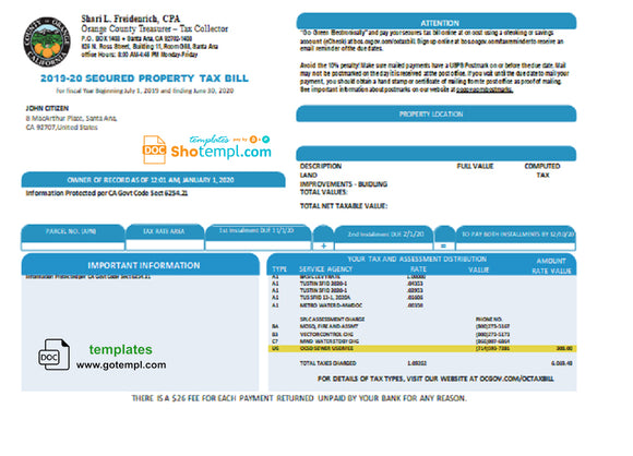USA County of Orange California property tax bill template in Word and PDF format