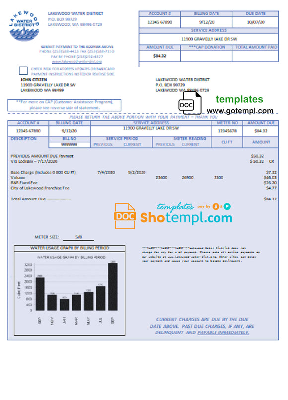 USA Lakewood Water District utility bill template in Word and PDF format
