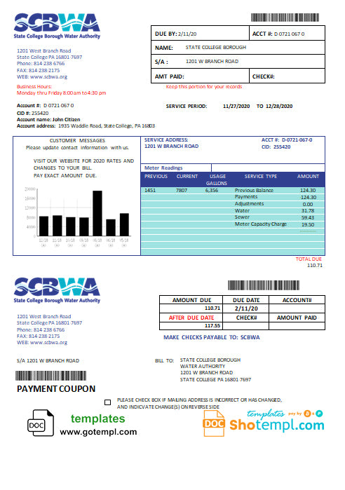 USA Pennsylvania SCBWA water utility bill template in Word and PDF format
