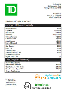 USA TD bank credit card statement template in Word and PDF format
