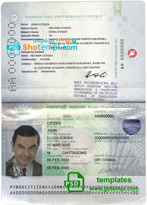 Bangladesh passport template in PSD format, fully editable