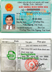 Vietnam ID template in PSD format, fully editable