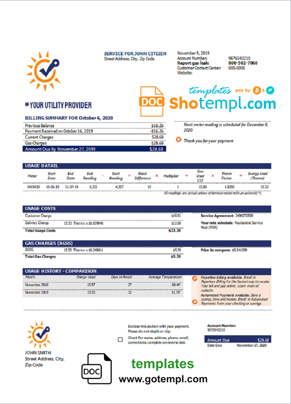 # bright sun universal multipurpose utility bill template in Word format