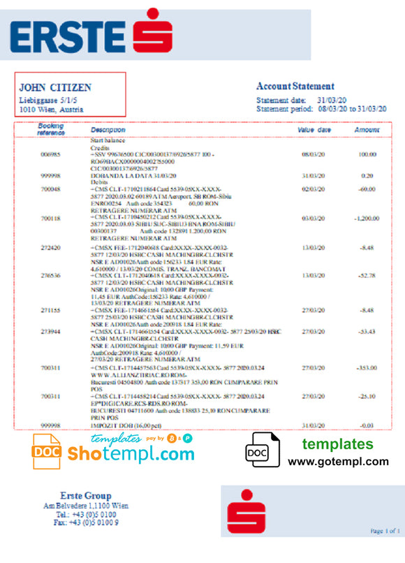 Austria Erste Group bank statement template in Word and PDf format