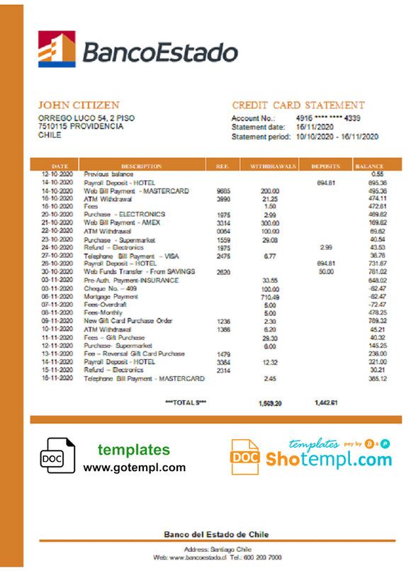 Chile Banco del Estado de Chile bank statement template in Word and PDF format