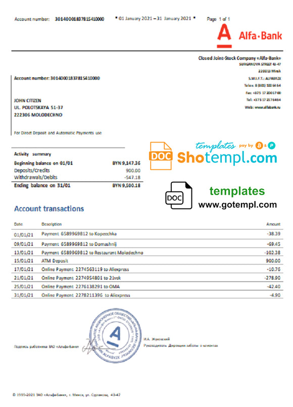 Belarus Alfa bank statement template in Word and PDF format