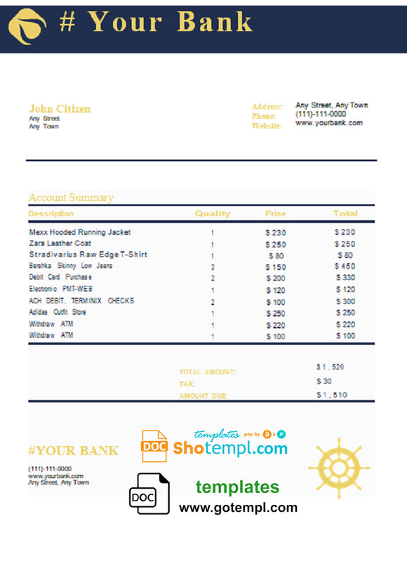 # blue tone universal multipurpose bank statement template in Word format