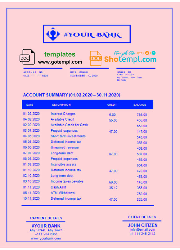 # bright blue universal multipurpose bank statement template in Word format