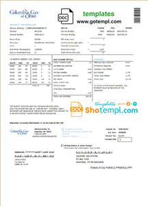 USA Columbia Gas of Ohio utility bill template in Word and PDF format